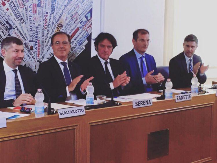 I presidenti dei tre Consorzi di Tutela del Sistema Prosecco alla conferenza stampa di presentazione dei risultati sulla lotta alla confraffazione tenutasi a Roma il 30.06.2016